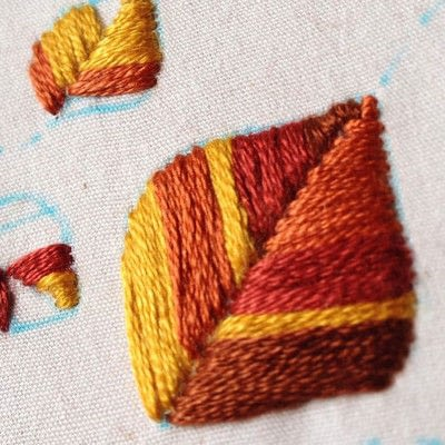 How to embroider . Embroidered Autumn Leaves - Step 3