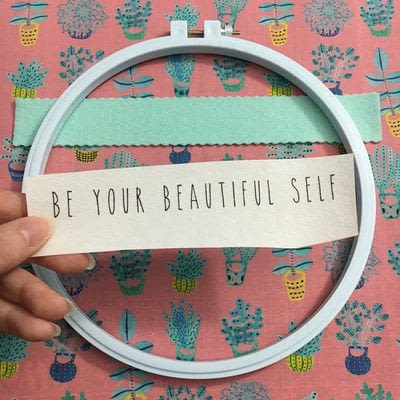 How to embroider art. Inspirational Appliquéd Embroidery Hoop Art - Step 3