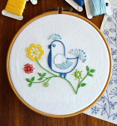 How to embroider . Blue Bird - Step 1