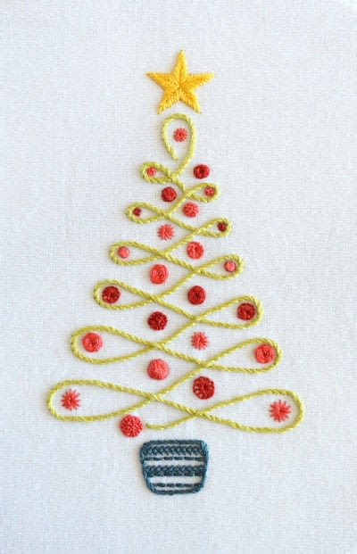 How to embroider . Christmas Tree - Step 1