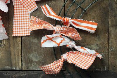 How to make a fabric wreath. Cute + Easy Rag Wreath Diy - Step 4