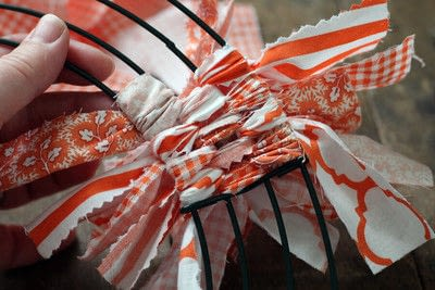 How to make a fabric wreath. Cute + Easy Rag Wreath Diy - Step 5