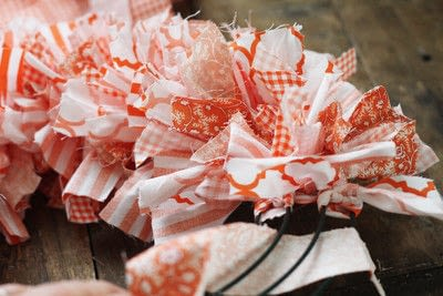 How to make a fabric wreath. Cute + Easy Rag Wreath Diy - Step 6