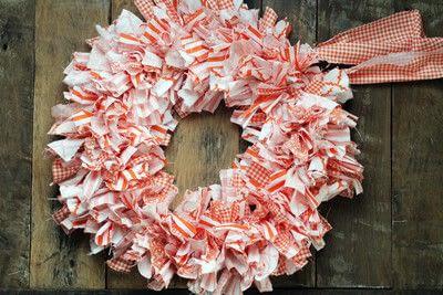How to make a fabric wreath. Cute + Easy Rag Wreath Diy - Step 7