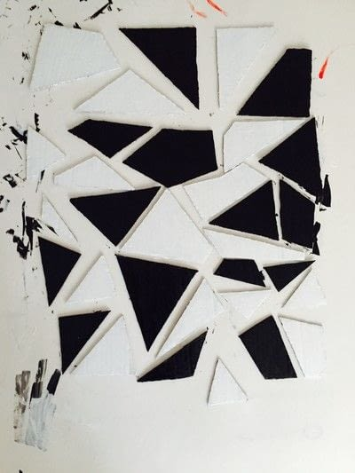 How to make a piece of recycled art. Geometric Puzzle Canvas Art  - Step 4