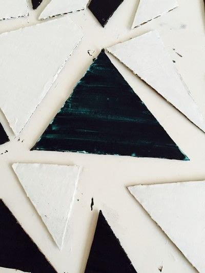 How to make a piece of recycled art. Geometric Puzzle Canvas Art  - Step 5