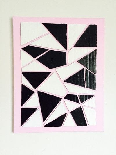 How to make a piece of recycled art. Geometric Puzzle Canvas Art  - Step 6