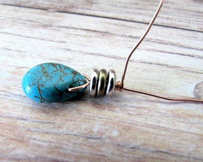 How to make a dangle earring. Diy Boho Turquoise Earrings - Step 5