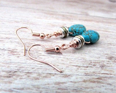 How to make a dangle earring. Diy Boho Turquoise Earrings - Step 7