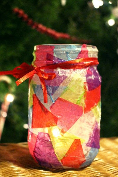 How to make a votive / candle holder. Simple Decoupaged Stained Glass Candle Holder - Step 5