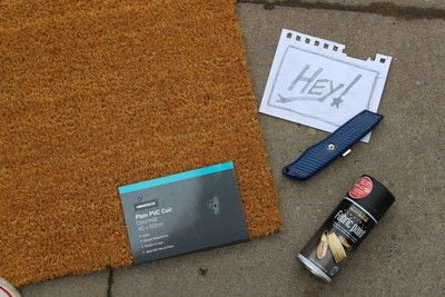 How to make a door mat. DIY Painting A Doormat - Step 1