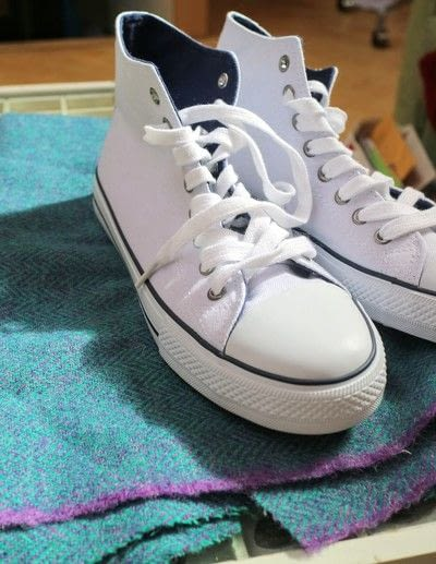 How to make a pair of fabric covered shoes. Harris Tweed Converse - Step 1