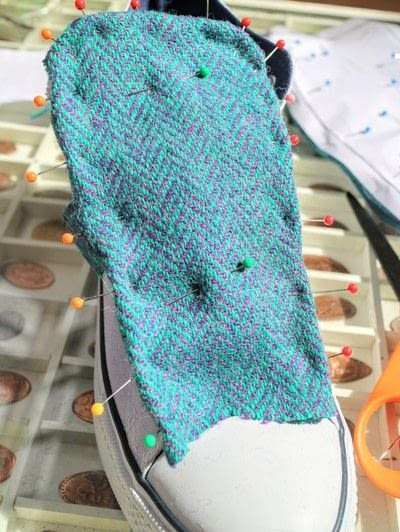How to make a pair of fabric covered shoes. Harris Tweed Converse - Step 11