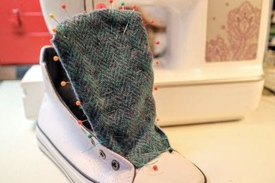 How to make a pair of fabric covered shoes. Harris Tweed Converse - Step 14