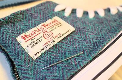 How to make a pair of fabric covered shoes. Harris Tweed Converse - Step 16