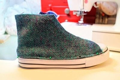 How to make a pair of fabric covered shoes. Harris Tweed Converse - Step 19