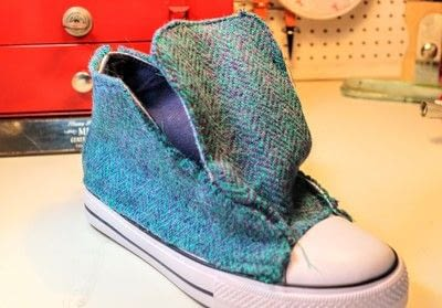 How to make a pair of fabric covered shoes. Harris Tweed Converse - Step 24