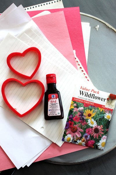 How to make a card. Plantable Seed Paper Valentines - Step 1
