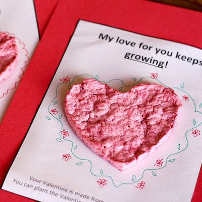 How to make a card. Plantable Seed Paper Valentines - Step 7