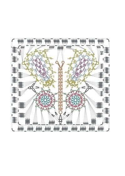 How to crochet a granny square blanket. Butterfly Throw - Step 8