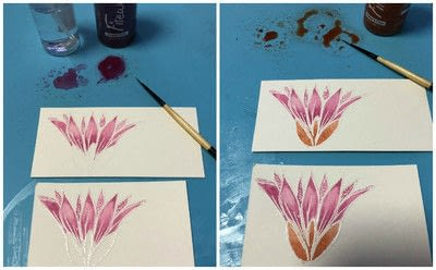 How to paint a watercolor card. Watercolor With Fireworks - Step 4