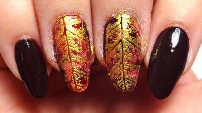 How to paint seasonal nail art. Lavishly Leafed - Step 3