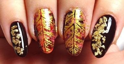 How to paint seasonal nail art. Lavishly Leafed - Step 4