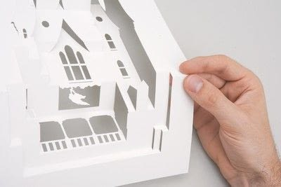 How to cut a piece of papercutting. Horrorgami Haunted House - Step 1