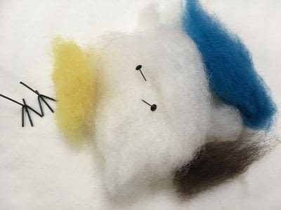 How to make a bird plushie. Needle Felted Blue Tit - Step 1