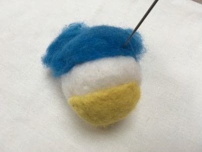 How to make a bird plushie. Needle Felted Blue Tit - Step 4