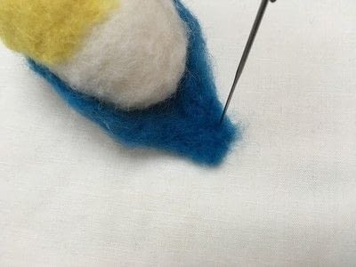 How to make a bird plushie. Needle Felted Blue Tit - Step 8