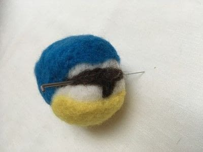 How to make a bird plushie. Needle Felted Blue Tit - Step 16
