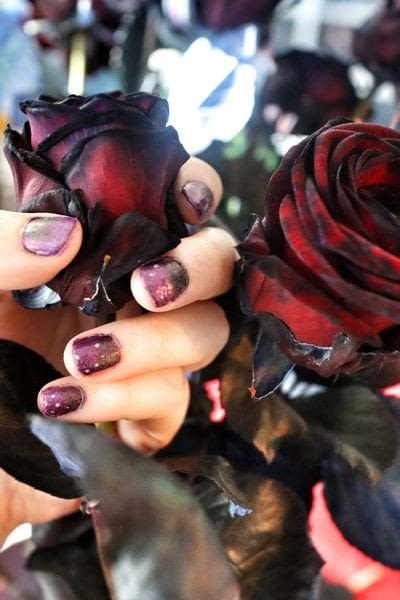 How to paint a gradient nail. Black Rose Ombre Nails - Step 7