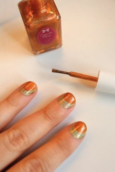 How to paint a stripy nail. Candy Corn Nails - Step 3