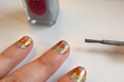 How to paint a stripy nail. Candy Corn Nails - Step 4
