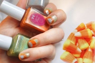 How to paint a stripy nail. Candy Corn Nails - Step 5