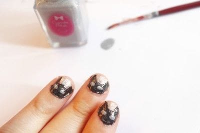 How to paint an animal nail. Black Cat Manicure - Step 5