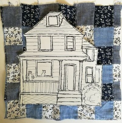How to make a patchwork quilt. House Collage - Step 2