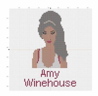 How to cross stitch art. Amy Winehouse Cross Stitch - Step 1