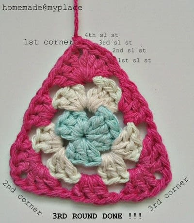 How to crochet a granny square. How To Crochet A Basic Granny Triangle - Step 16
