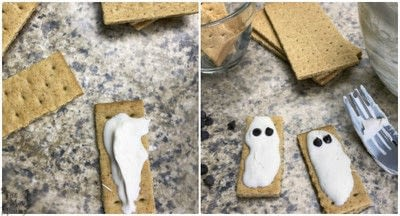 How to decorate a character cookie. Quick 'n' Cute Graham Cracker Ghosts - Step 1