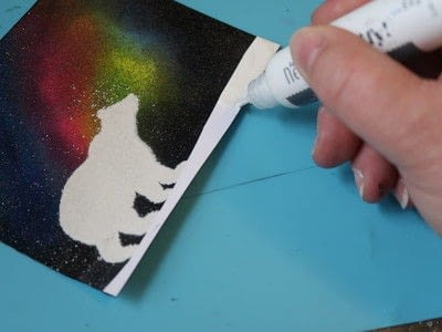 How to make a card. Sparkling Northern Lights - Step 6