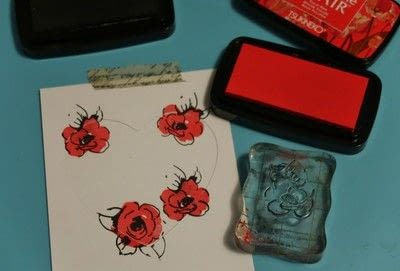 How to make a papercraft. Stamping In The Negative - Step 2