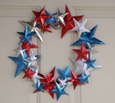 How to make a paper wreath. Patriotic 3 D Rinea Foiled Paper Star Wreath  - Step 7