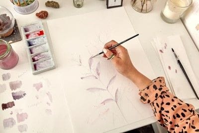 How to paint a piece of watercolor art. Watercolour Dried Flowers - Step 2
