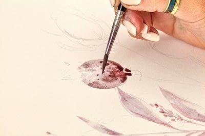 How to paint a piece of watercolor art. Watercolour Dried Flowers - Step 3