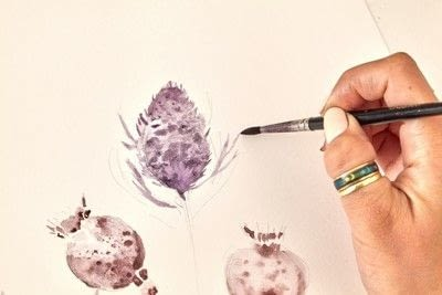 How to paint a piece of watercolor art. Watercolour Dried Flowers - Step 4