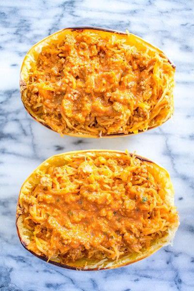 How to cook a stuffed squash. Bolognese And Mozzarella Stuffed Spaghetti Squash - Step 2