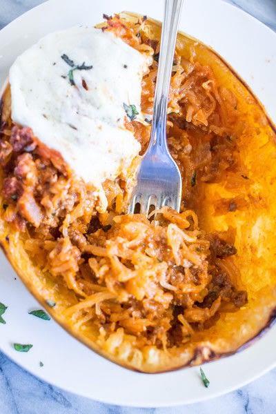 How to cook a stuffed squash. Bolognese And Mozzarella Stuffed Spaghetti Squash - Step 4