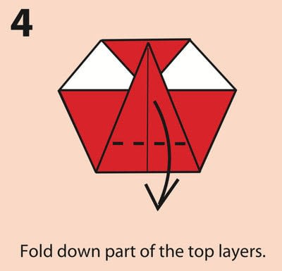 How to fold an origami character. Origami Daruma Doll - Step 4